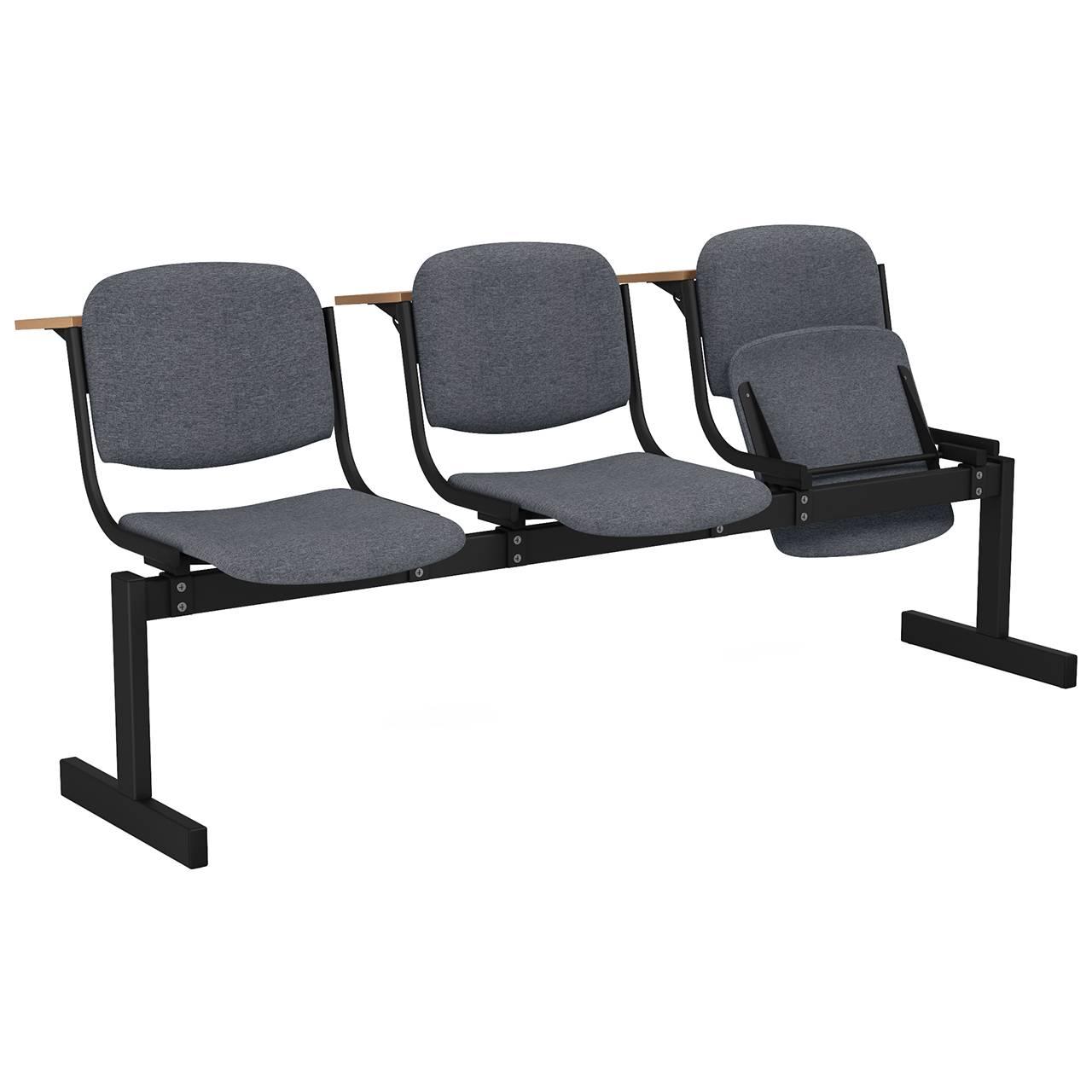3-местный, откидывающиеся сиденья, мягкий, лекционный черный серый Офисная ткань