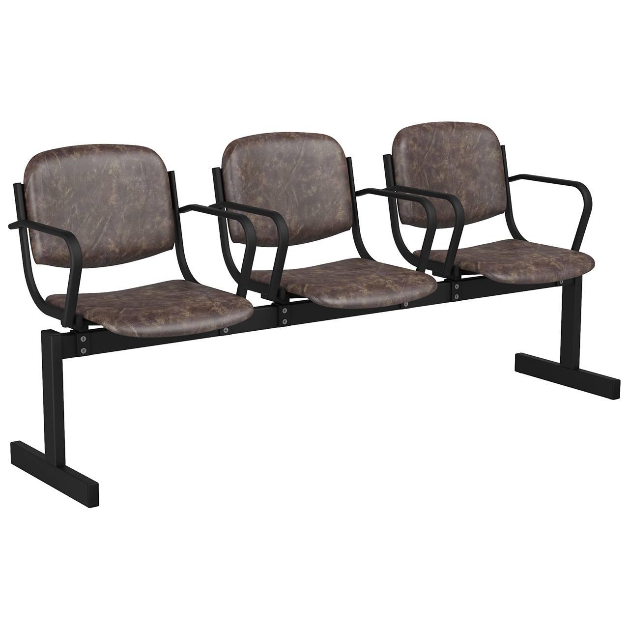 3-местный, не откидывающиеся сиденья, мягкий, подлокотники черный коричневый Кожзаменитель