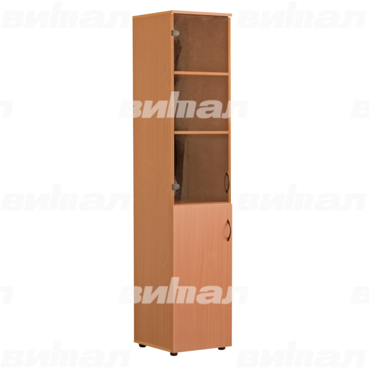Шкаф для документов «Директор» узкий со стеклом Бук-бавария Меламин