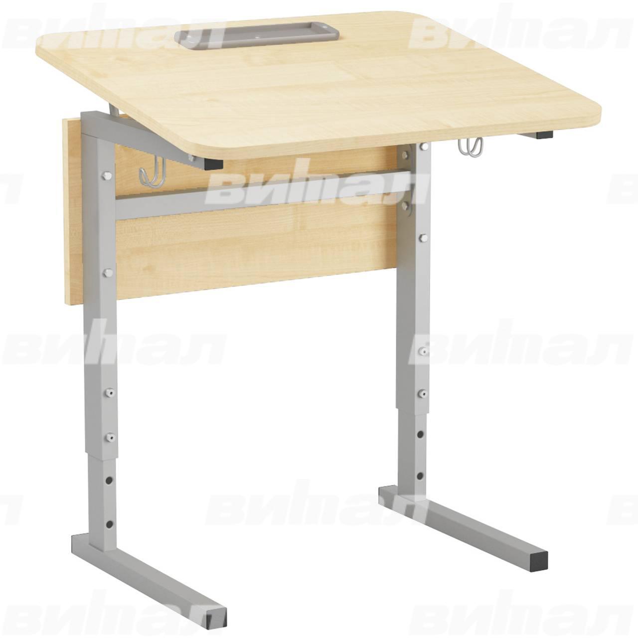 Стол 1-местный регулир. высота и наклон столешницы 0-10° (гр 2-4, 3-5 или 4-6) серый Клен 5-7 Меламин прямоугольная