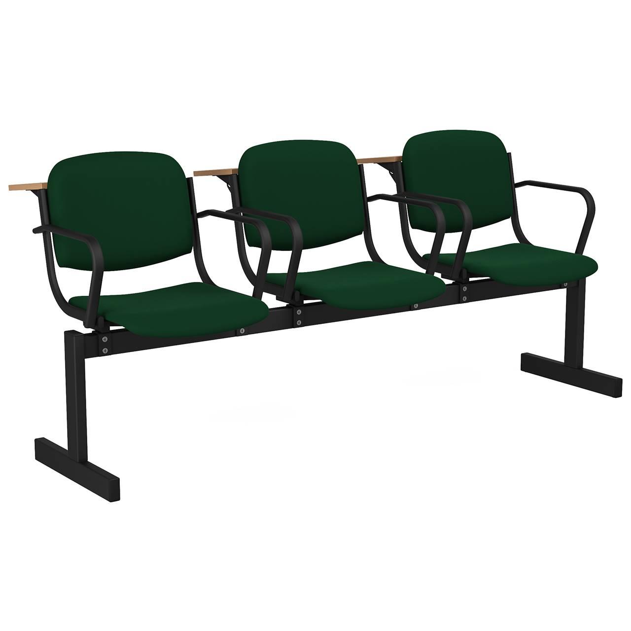 3-местный, не откидывающиеся сиденья, мягкий, подлокотники, лекционный черный зеленый Флок