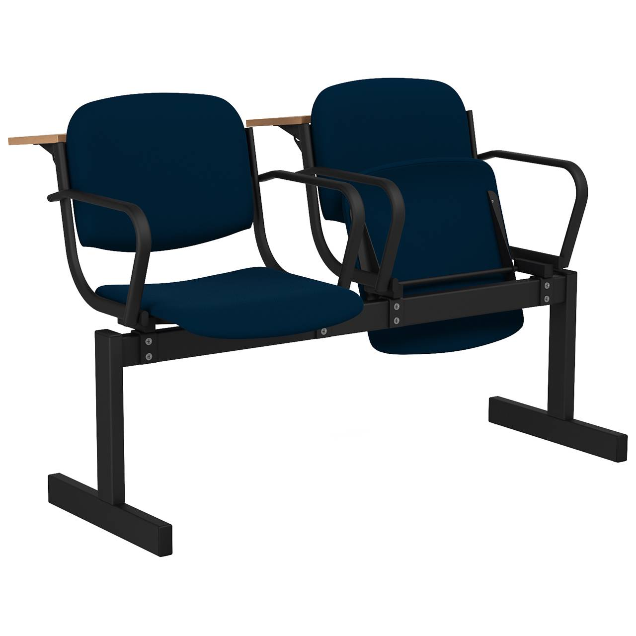 2-местный, откидывающиеся сиденья, мягкий, подлокотники, лекционный черный синий Флок