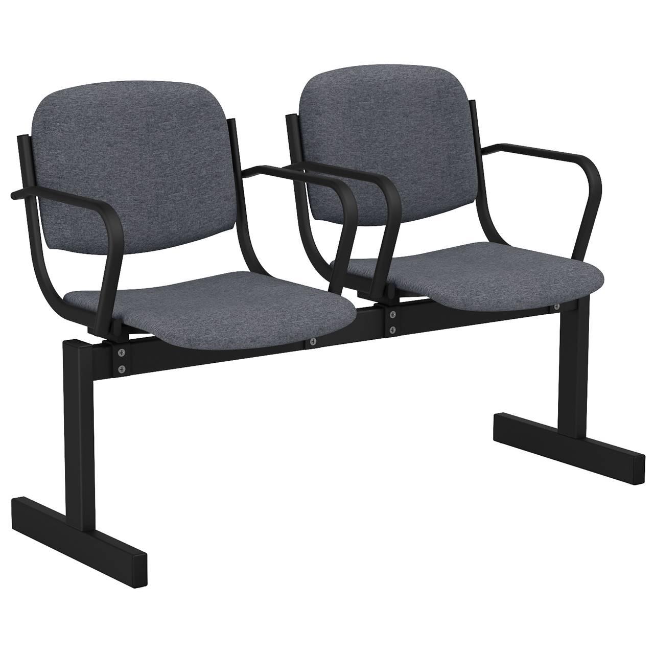 2-местный, не откидывающиеся сиденья, мягкий, подлокотники черный серый Офисная ткань