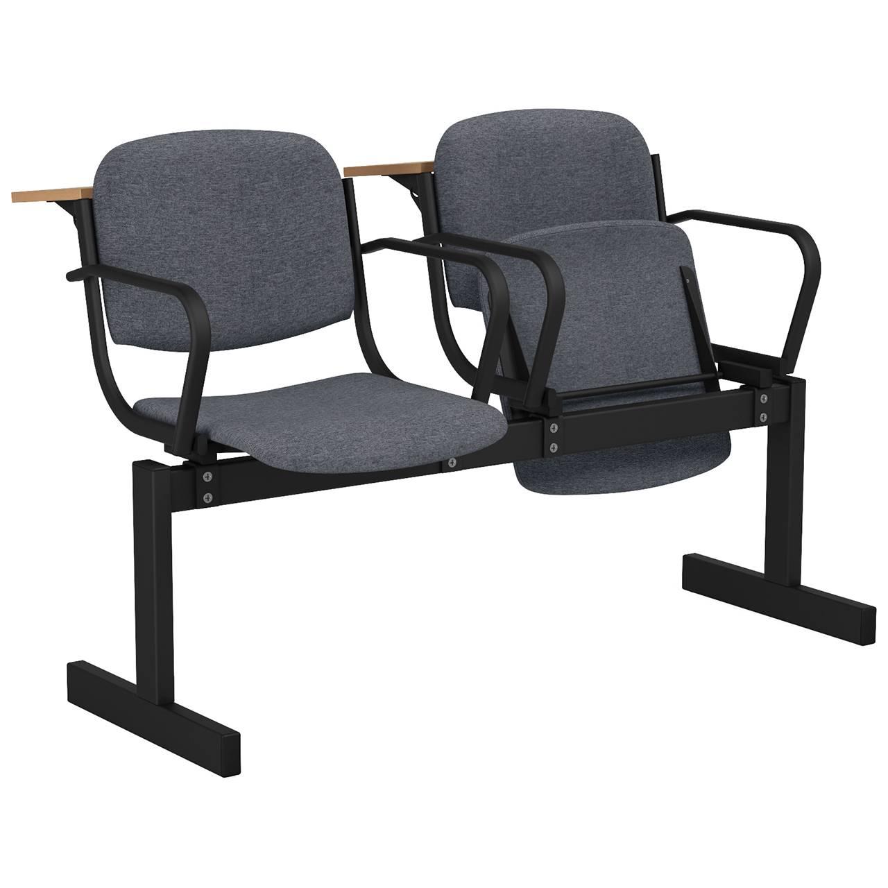 2-местный, откидывающиеся сиденья, мягкий, подлокотники, лекционный черный серый Офисная ткань