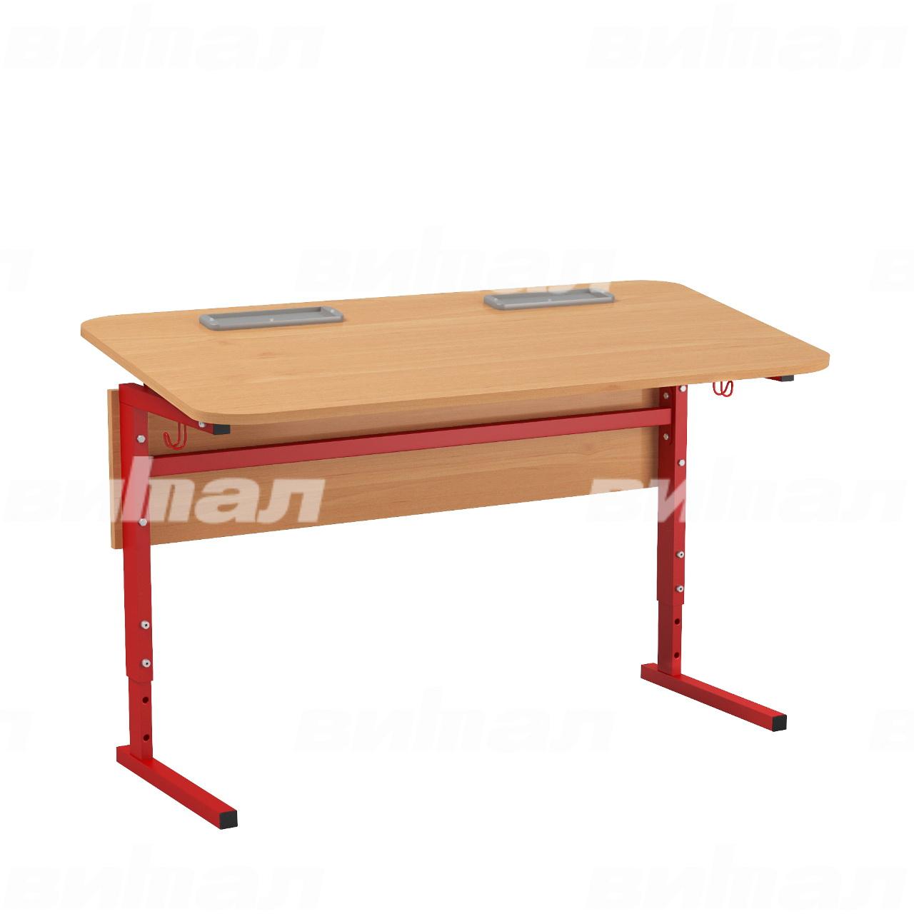 Стол 2-местный регулир. высота и наклон столешницы 0-10° (гр 2-4, 3-5 или 4-6) красный Ольха 3-5 Меламин прямоугольная