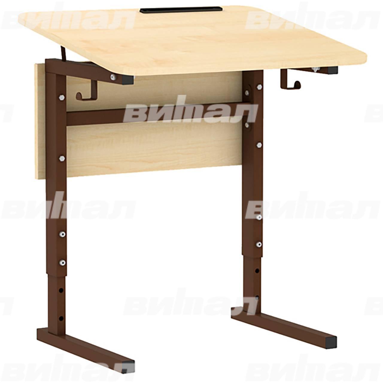 Стол 1-местный регулир. высота и наклон столешницы 0-10° (гр 2-4, 3-5 или 4-6) коричневый Клен 3-5 Меламин