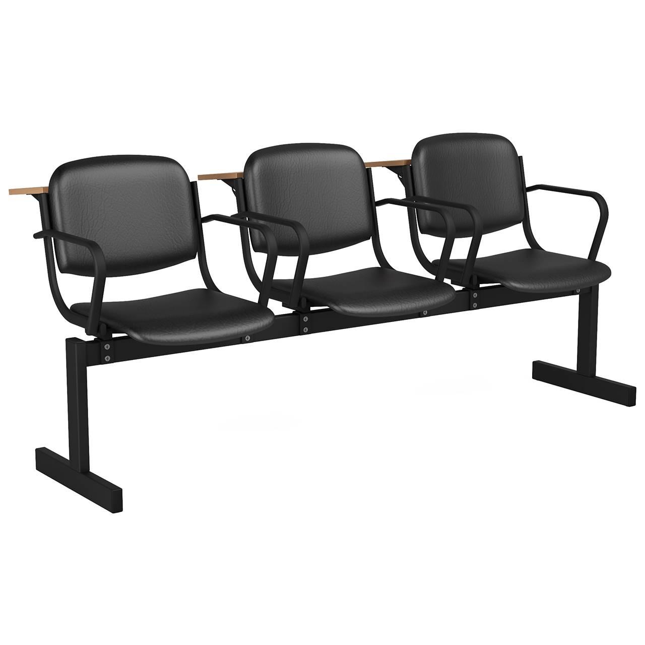 3-местный, не откидывающиеся сиденья, мягкий, подлокотники, лекционный черный черный Кожзаменитель