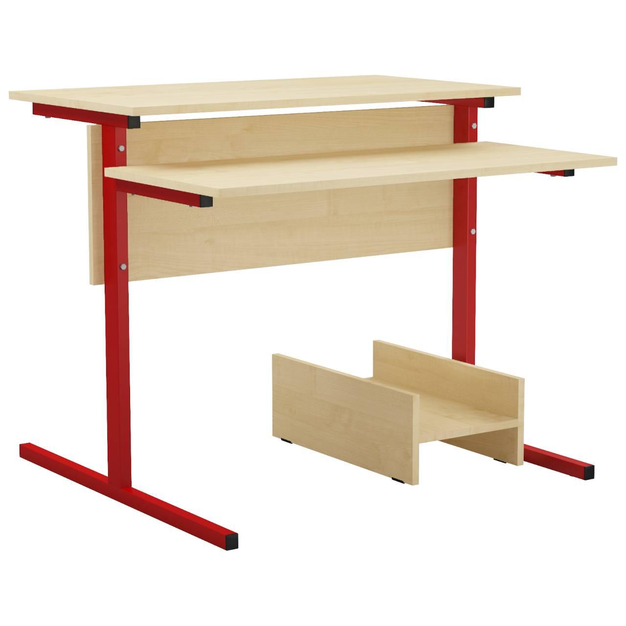 Стол компьютерный на м/к (квадратная труба) красный Клен Меламин