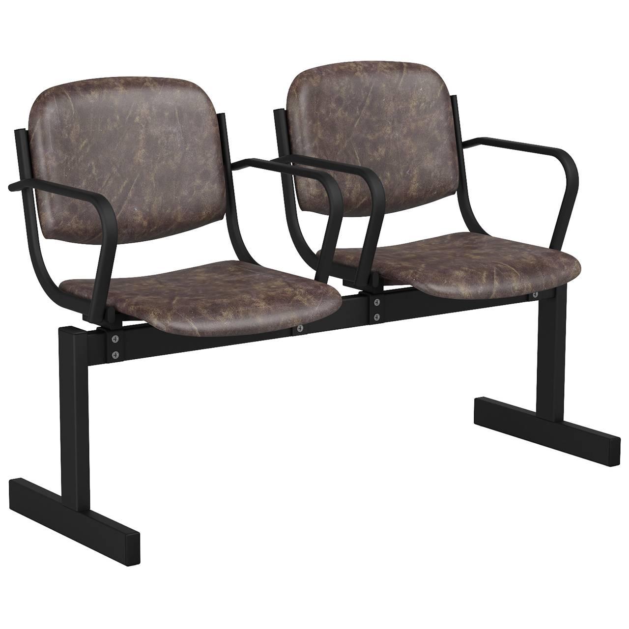 2-местный, не откидывающиеся сиденья, мягкий, подлокотники черный коричневый Кожзаменитель