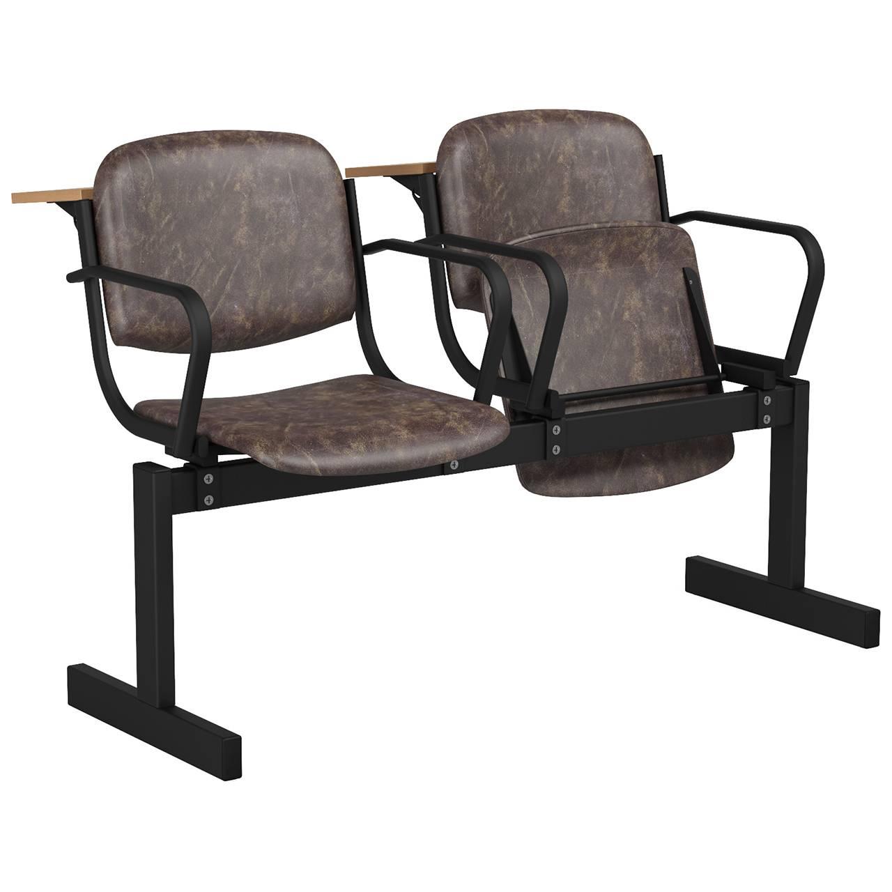 2-местный, откидывающиеся сиденья, мягкий, подлокотники, лекционный черный коричневый Кожзаменитель