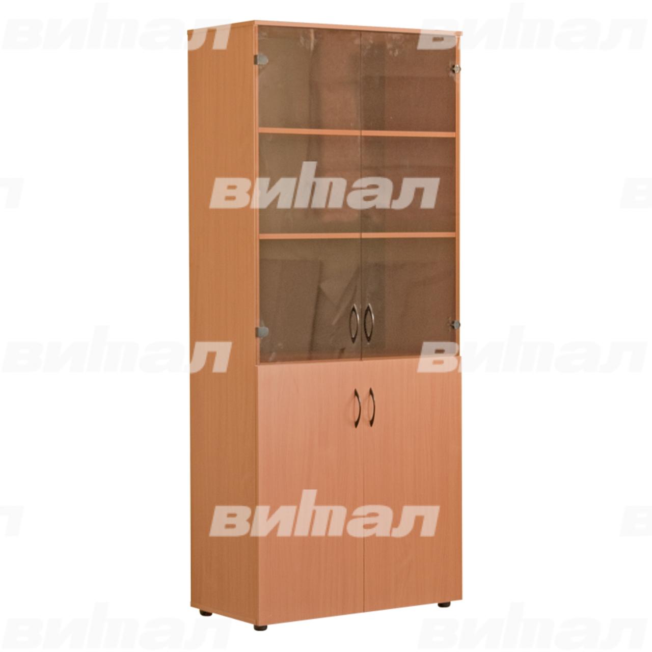 Шкаф для документов «Директор» широкий со стеклом Бук-бавария Меламин