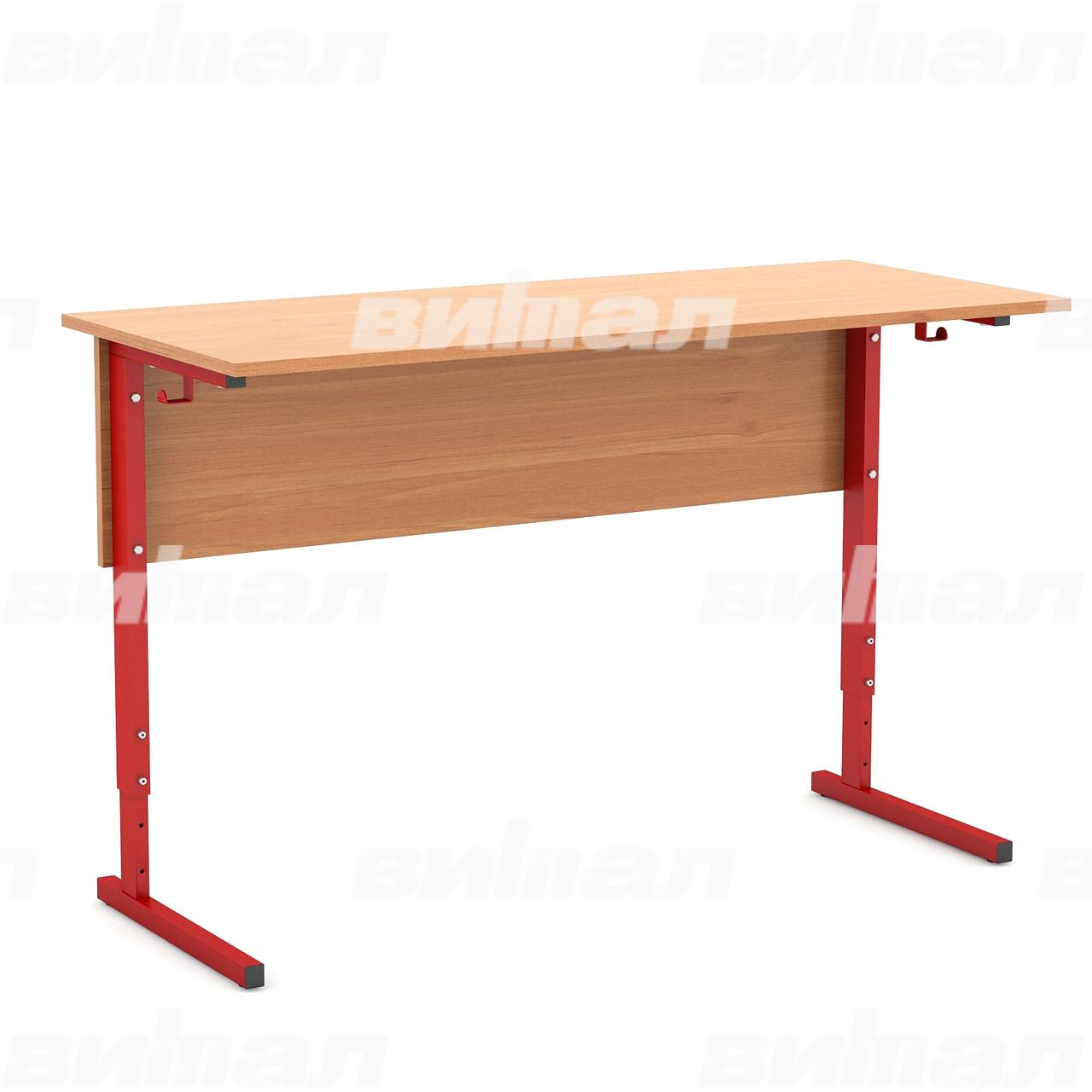 Стол ученический 2-местный регулируемый (гр. 2-4, 3-5 или 4-6) красный Ольха 2-4 Меламин
