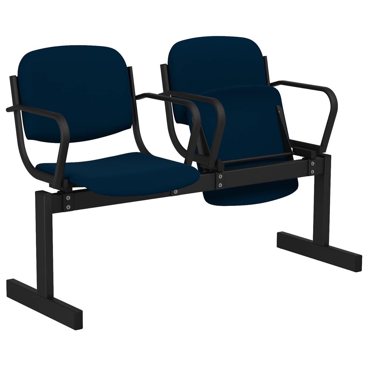 2-местный, откидывающиеся сиденья, мягкий, подлокотники черный синий Флок