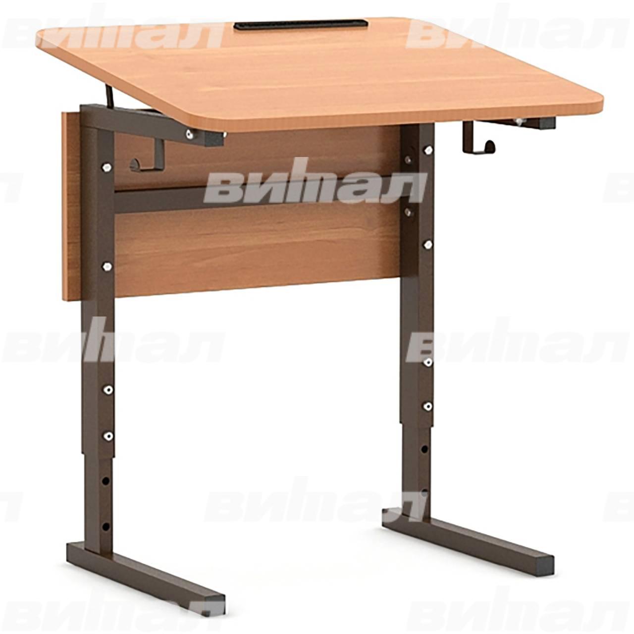 Стол 1-местный регулир. высота и наклон столешницы 0-10° (гр 2-4, 3-5 или 4-6) коричневый Ольха 3-5 Меламин