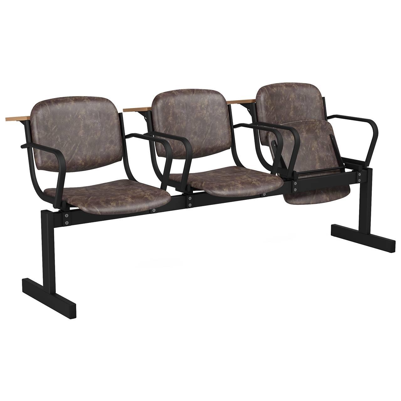 3-местный, откидывающиеся сиденья, мягкий, подлокотники, лекционный черный коричневый Кожзаменитель