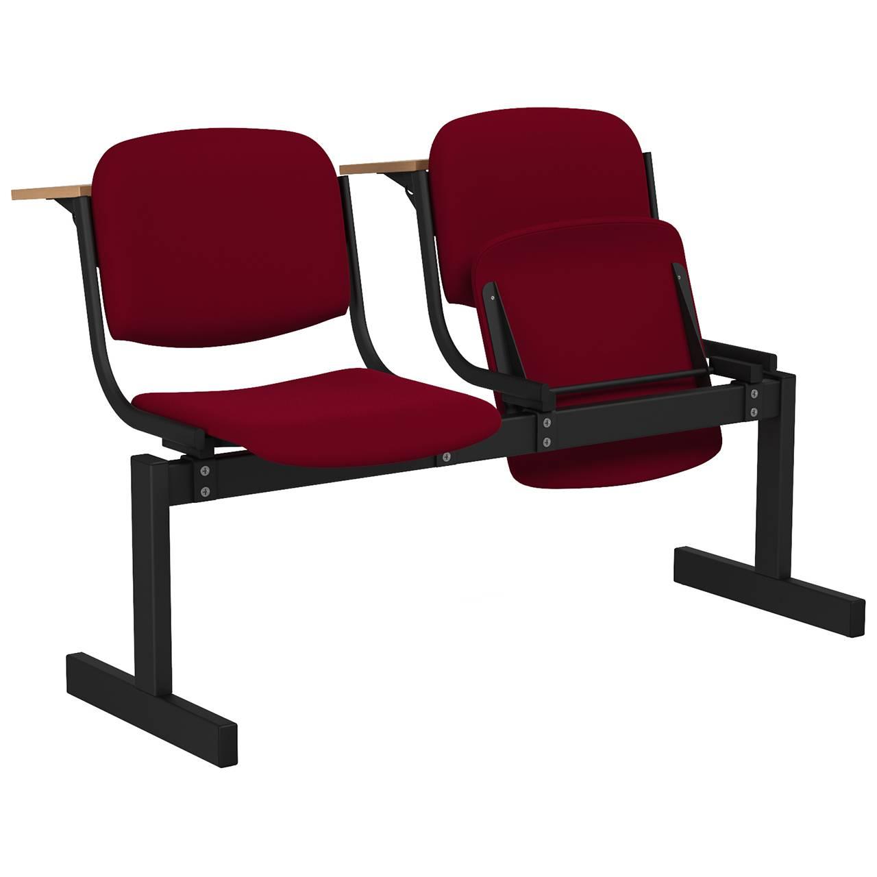 2-местный, откидывающиеся сиденья, мягкий, лекционный черный бордо Флок