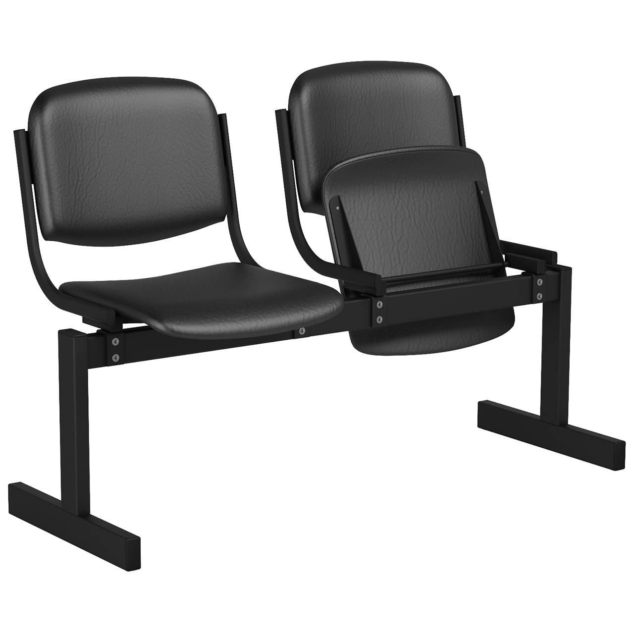 2-местный, откидывающиеся сиденья, мягкий черный черный Кожзаменитель
