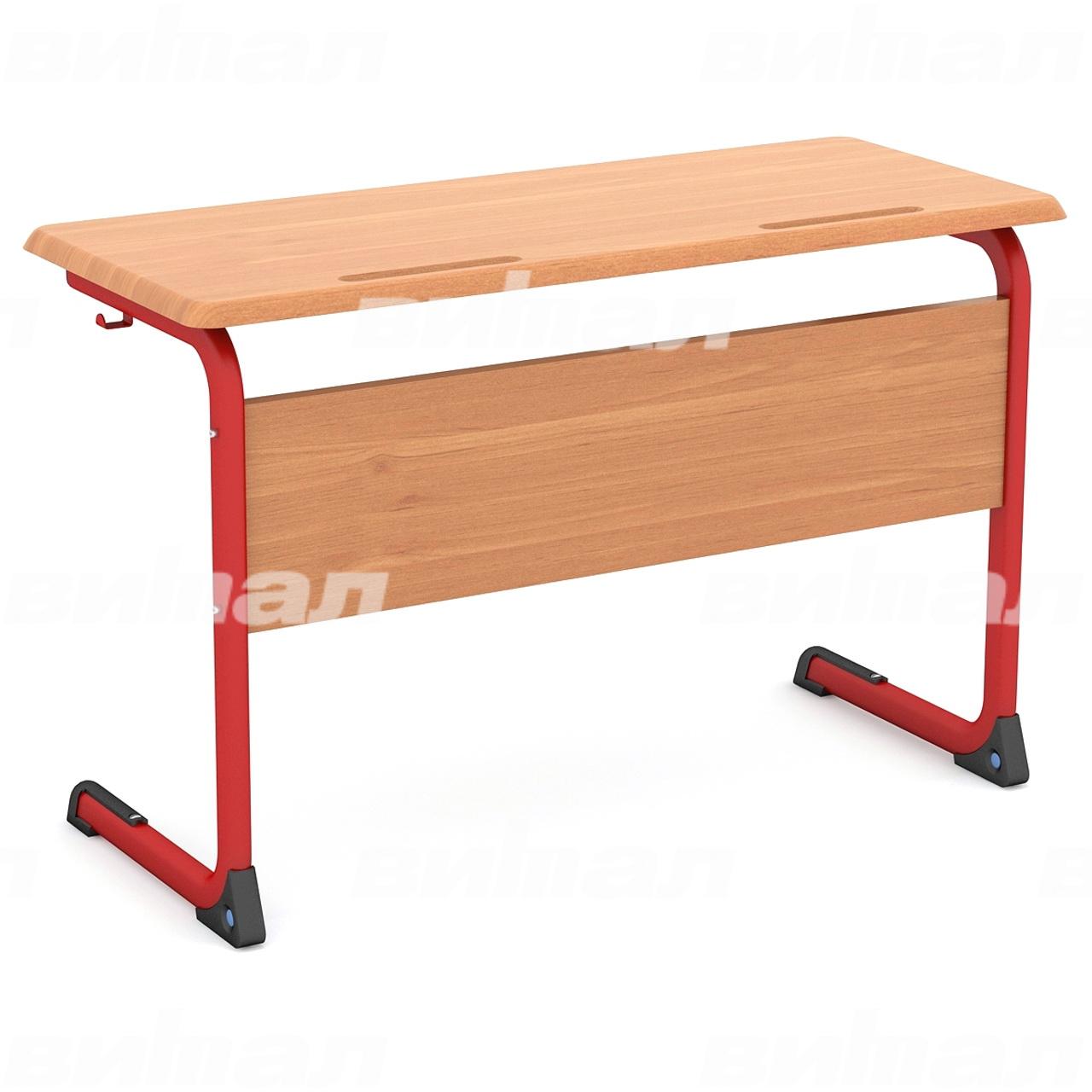 Стол ученический 2-местный нерегулируемый (гр. 3, 4, 5 или 6) МДФ красный Бук 4 МДФ плоскоовальная