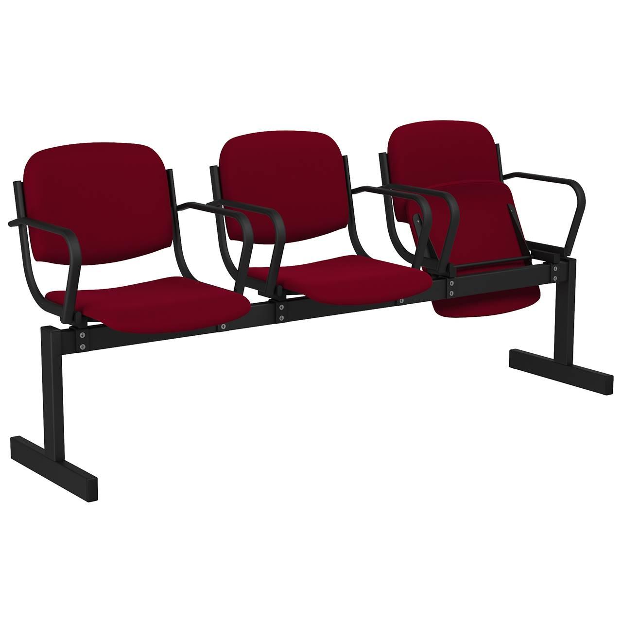 3-местный, откидывающиеся сиденья, мягкий, подлокотники черный бордо Флок