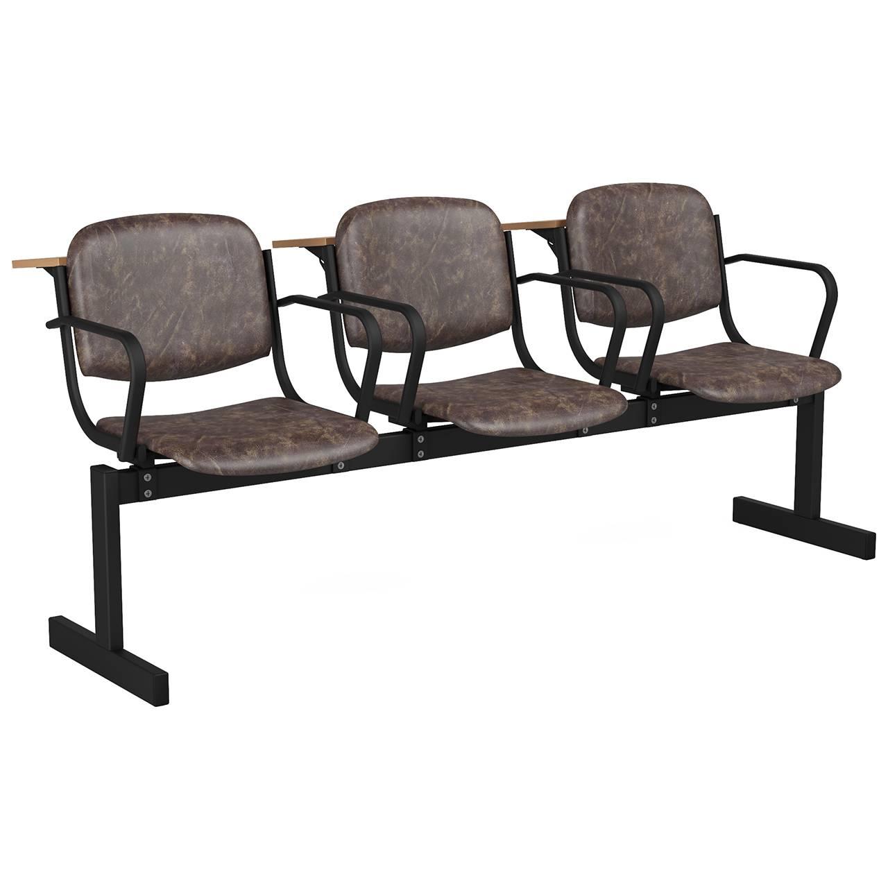3-местный, не откидывающиеся сиденья, мягкий, подлокотники, лекционный черный коричневый Кожзаменитель
