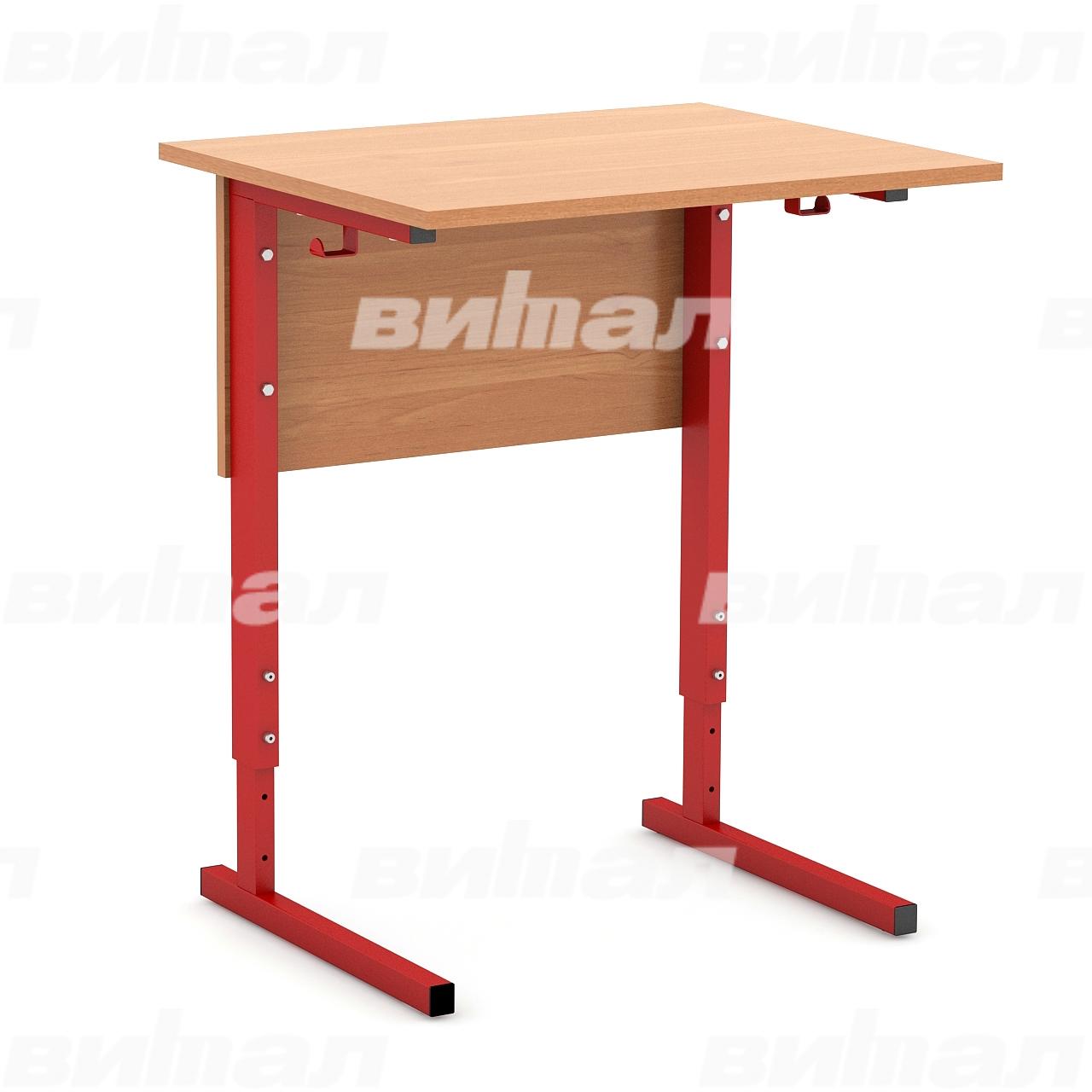 Стол ученический 1-местный регулируемый (гр. 2-4, 3-5 или 4-6) красный Ольха 3-5 Меламин