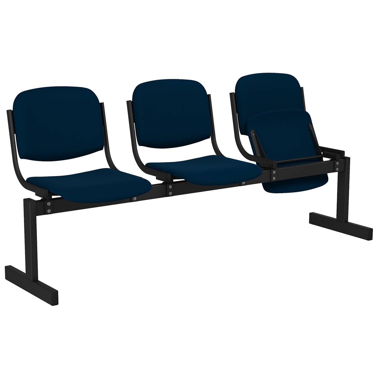 3-местный, откидывающиеся сиденья, мягкий черный синий Флок