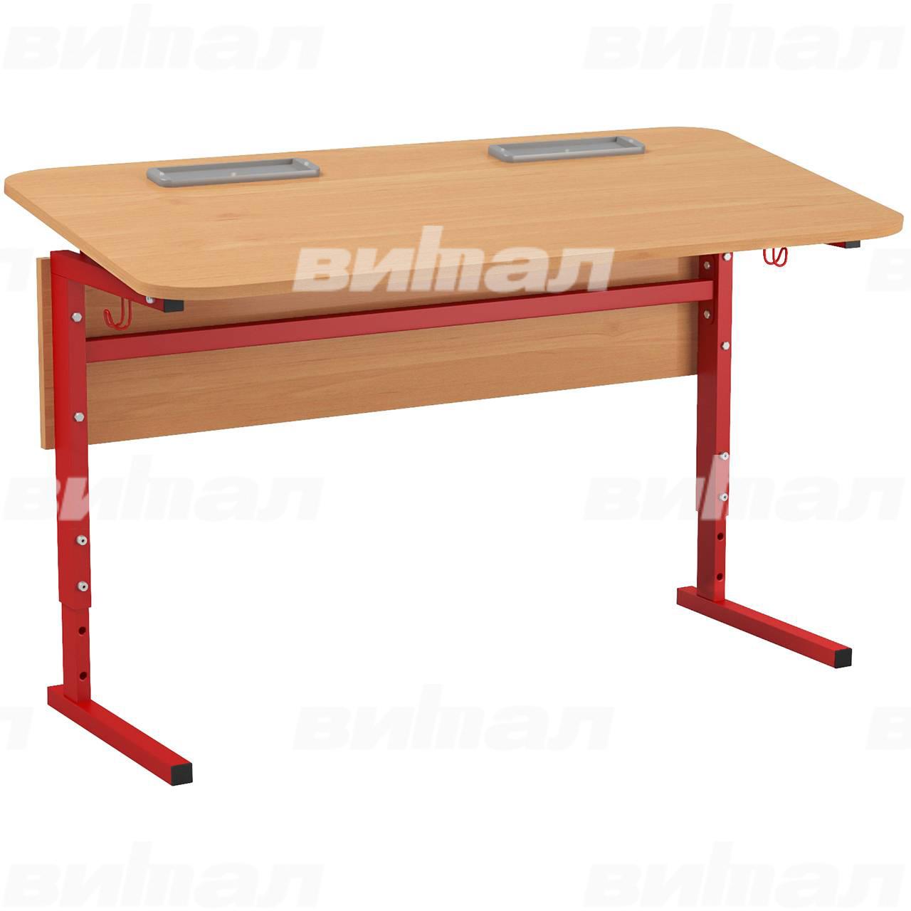 Стол 2-местный регулир. высота и наклон столешницы 0-10° (гр 2-4, 3-5, 4-6 или 5-7) красный Ольха 5-7 Меламин прямоугольная
