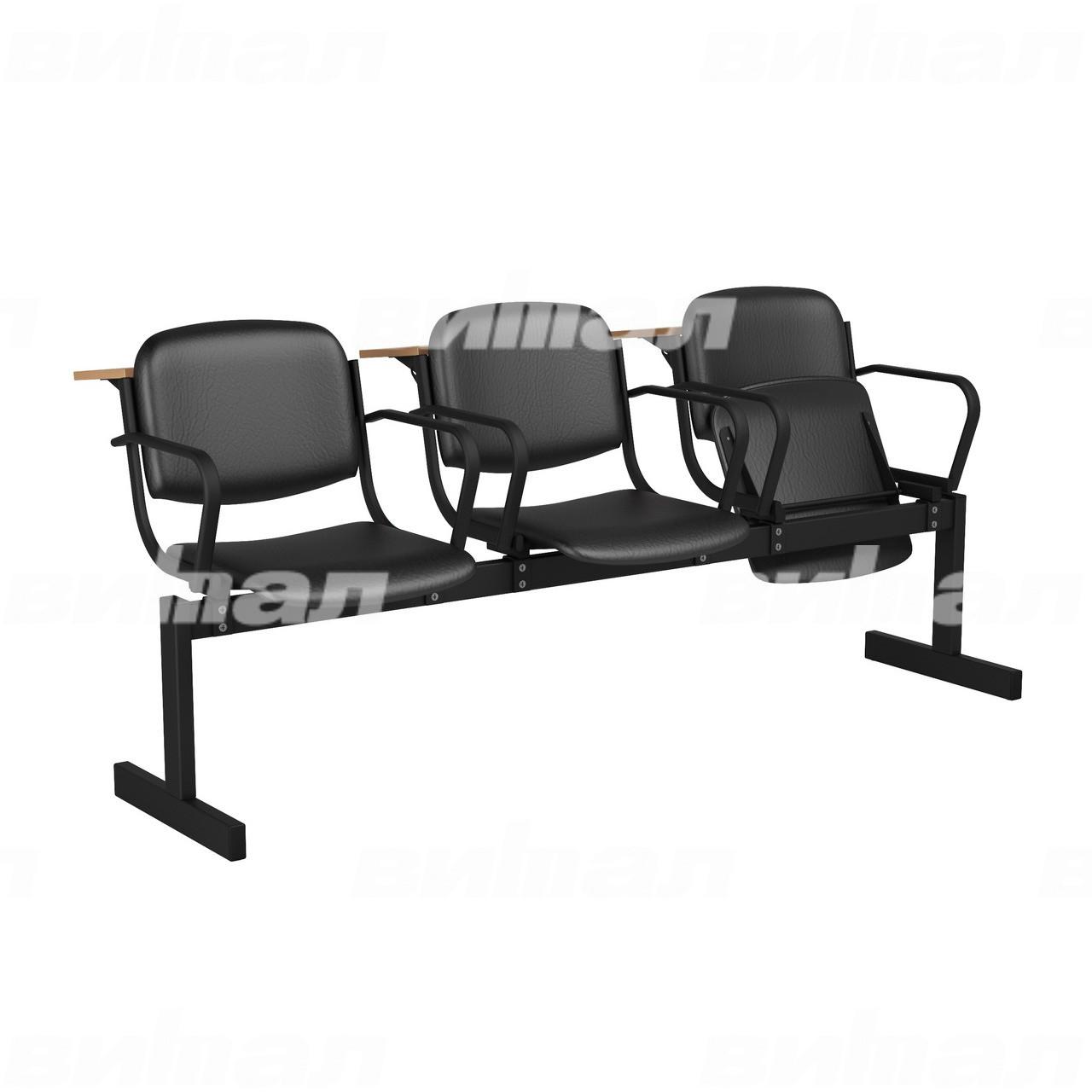3-местный, откидывающиеся сиденья, мягкий, подлокотники, лекционный черный черный Кожзаменитель