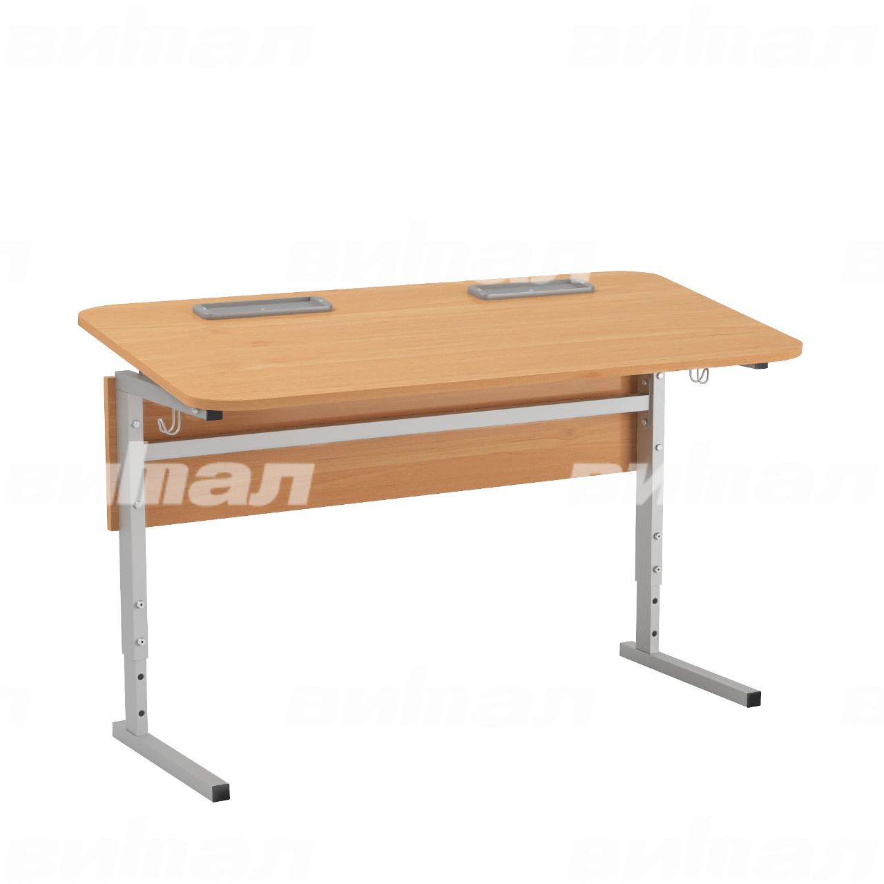 Стол 2-местный регулир. высота и наклон столешницы 0-10° (гр 2-4, 3-5 или 4-6) серый Ольха 3-5 Меламин прямоугольная