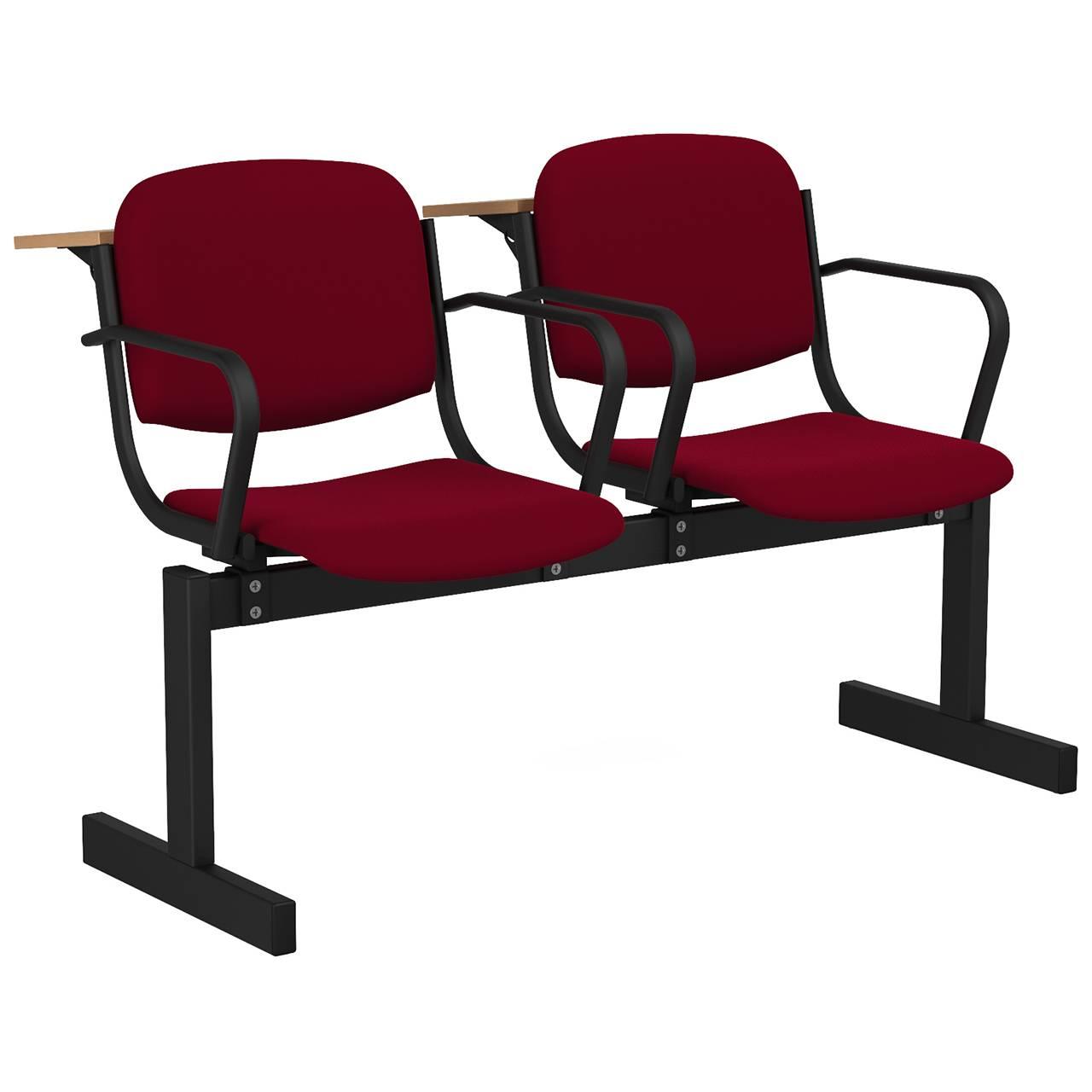 2-местный, не откидывающиеся сиденья, мягкий, подлокотники, лекционный черный бордо Флок