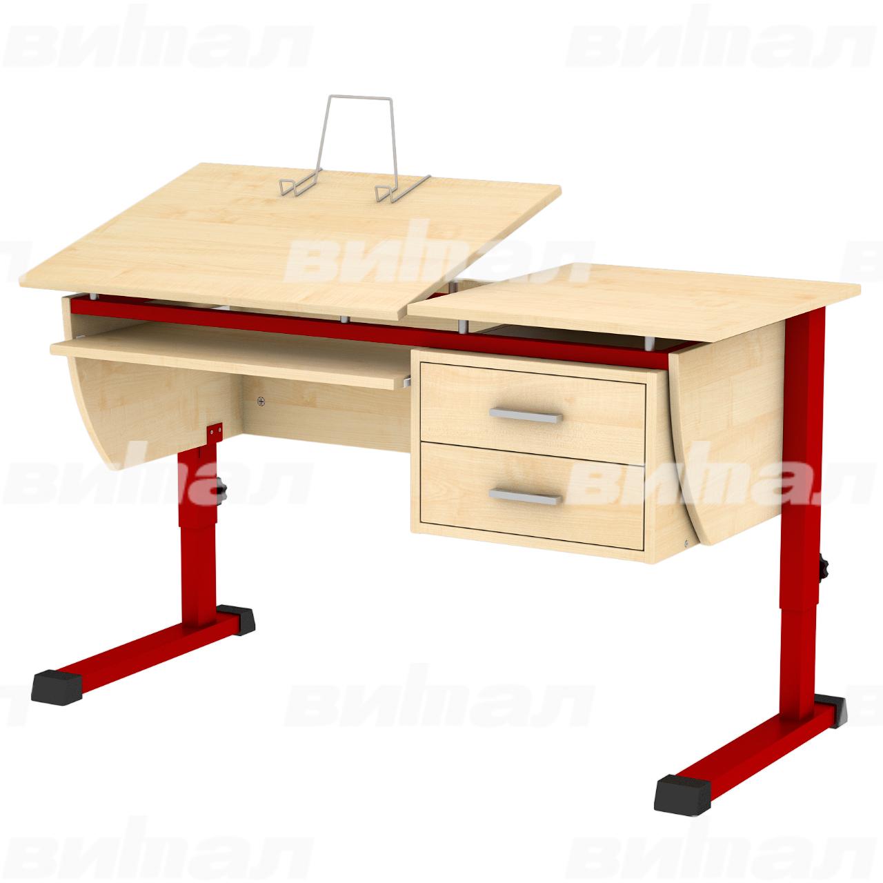 Стол ученический компьютерный «Осанка 120 К» красный Клен 2-7 ЛДСП