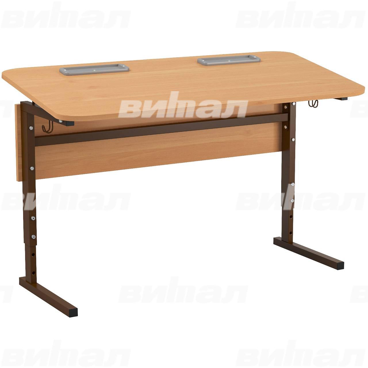 Стол 2-местный регулир. высота и наклон столешницы 0-10° (гр 2-4, 3-5, 4-6 или 5-7) коричневый Ольха 5-7 Меламин прямоугольная