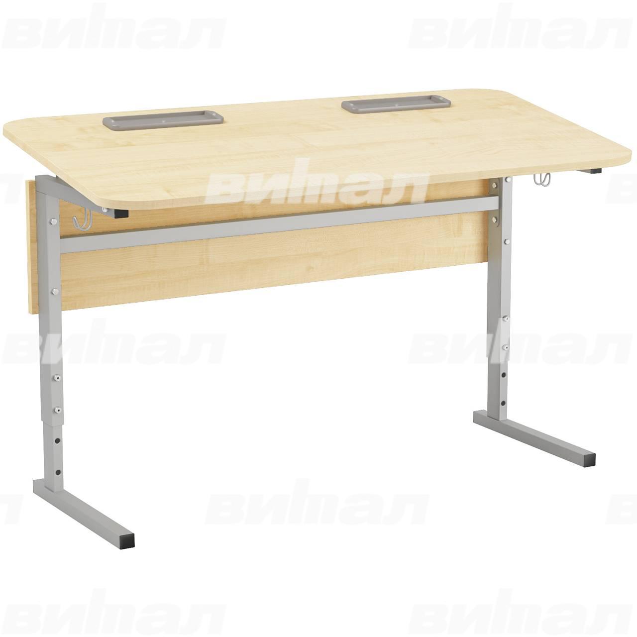 Стол 2-местный регулир. высота и наклон столешницы 0-10° (гр 2-4, 3-5, 4-6 или 5-7) серый Клен 5-7 Меламин прямоугольная