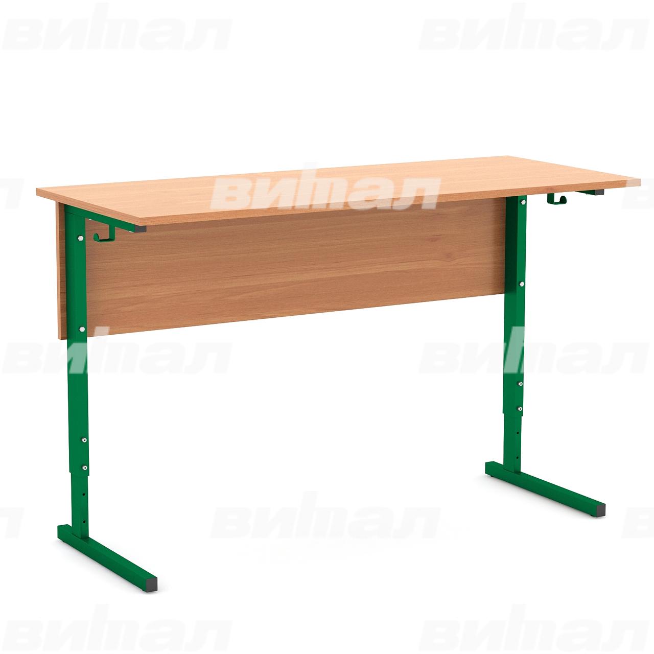 Стол ученический 2-местный регулируемый (гр. 2-4, 3-5 или 4-6) зеленый Ольха 4-6 Меламин