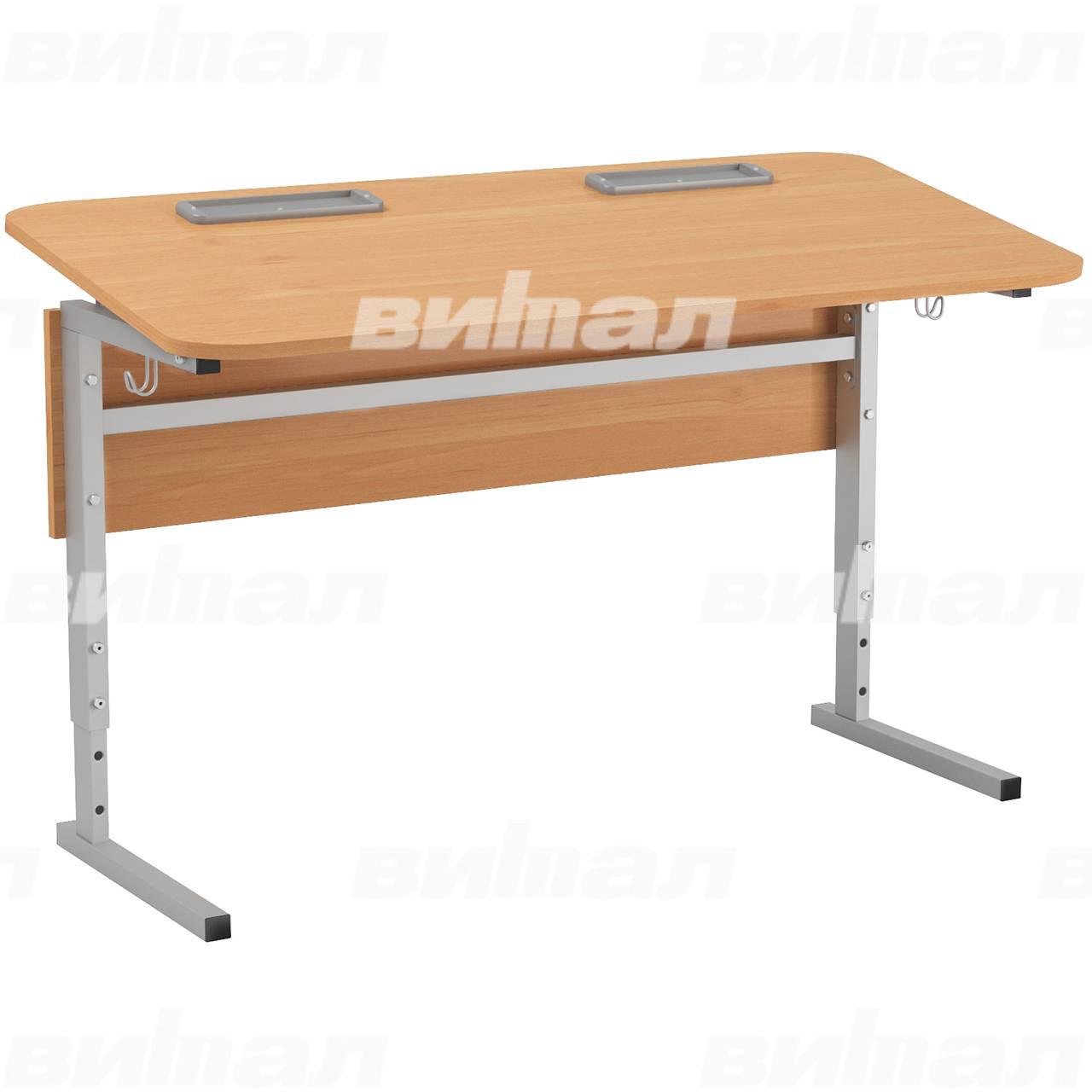 Стол 2-местный регулир. высота и наклон столешницы 0-10° (гр 2-4, 3-5, 4-6 или 5-7) серый Ольха 5-7 Меламин прямоугольная