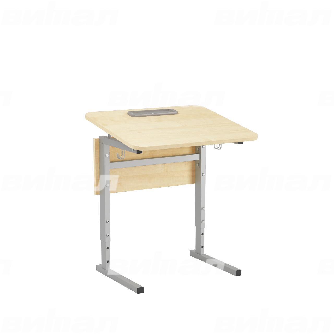 Стол 1-местный регулир. высота и наклон столешницы 0-10° (гр 2-4, 3-5 или 4-6) серый Клен 3-5 Меламин прямоугольная