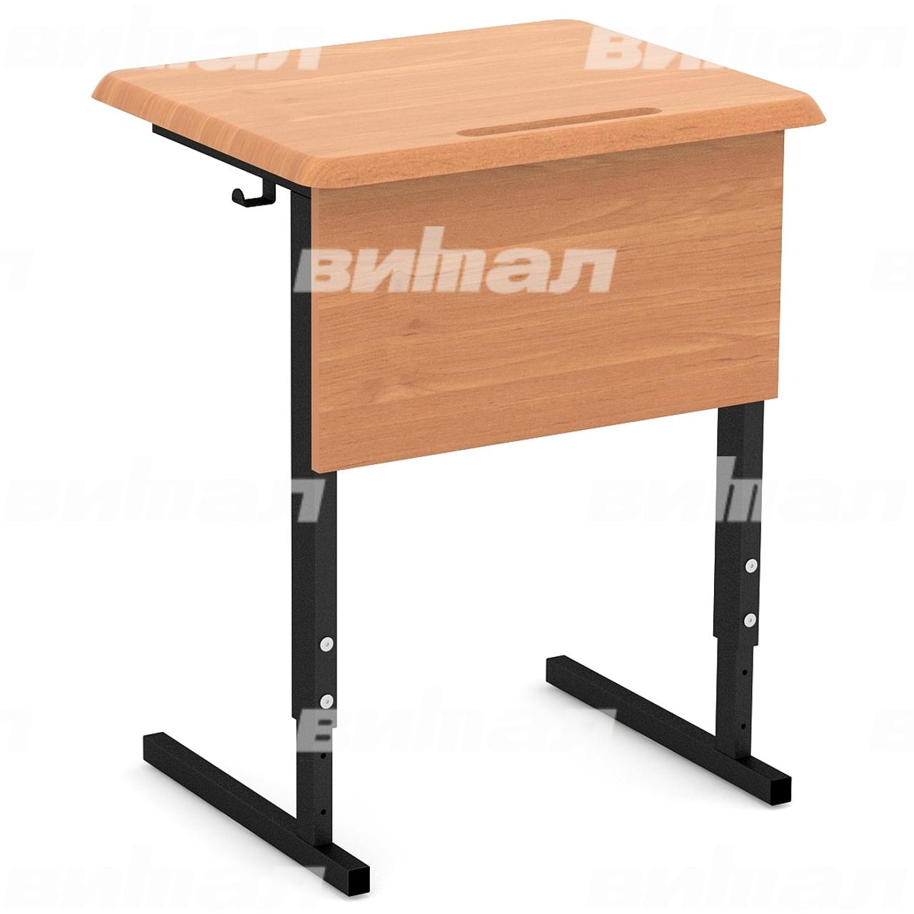 Стол ученический 1-местный регулируемый (гр. 2-4, 4-6, 3-5) МДФ черный Бук 3-5 МДФ прямоугольная