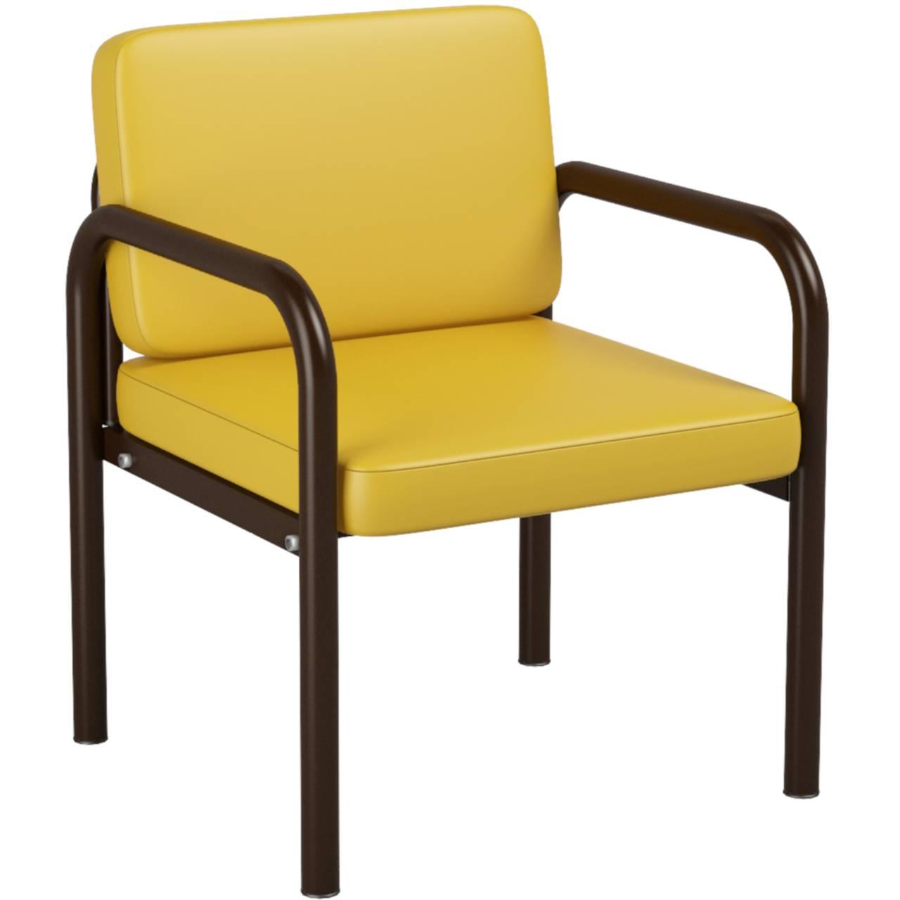 Кресло (круглая труба) коричневый желтый Кожзаменитель