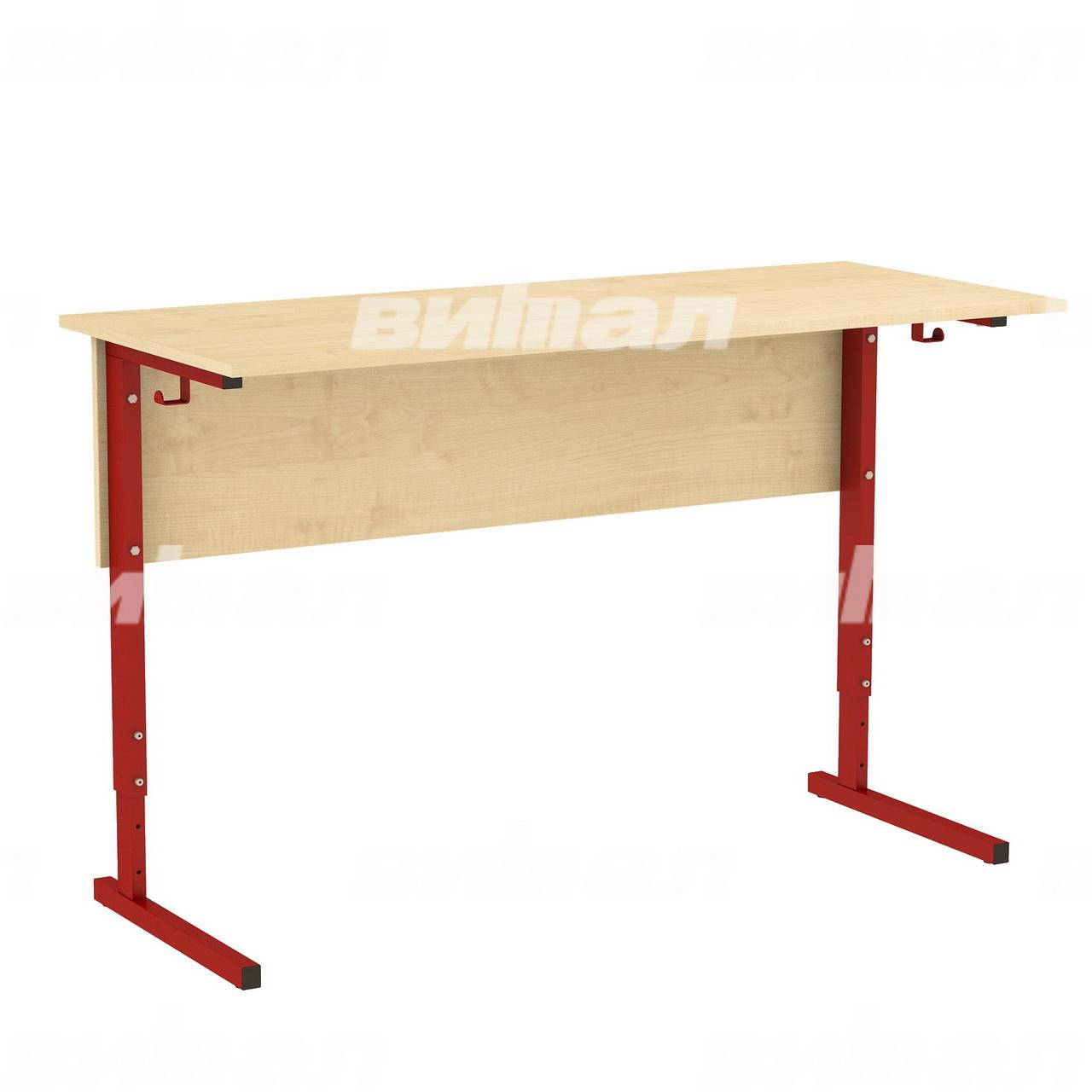 Стол ученический 2-местный регулируемый (гр. 2-4, 3-5 или 4-6) красный Клен 4-6 Меламин