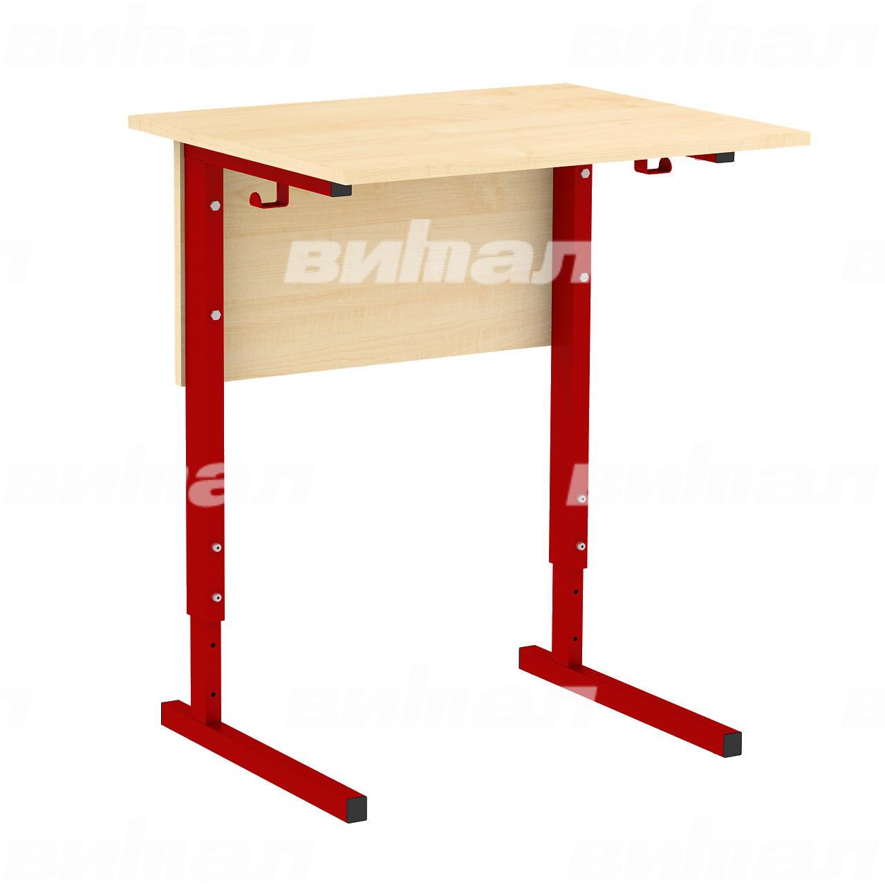Стол ученический 1-местный регулируемый (гр. 2-4, 3-5 или 4-6) красный Клен 4-6 Меламин