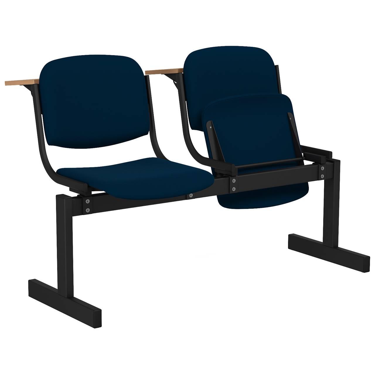 2-местный, откидывающиеся сиденья, мягкий, лекционный черный синий Флок