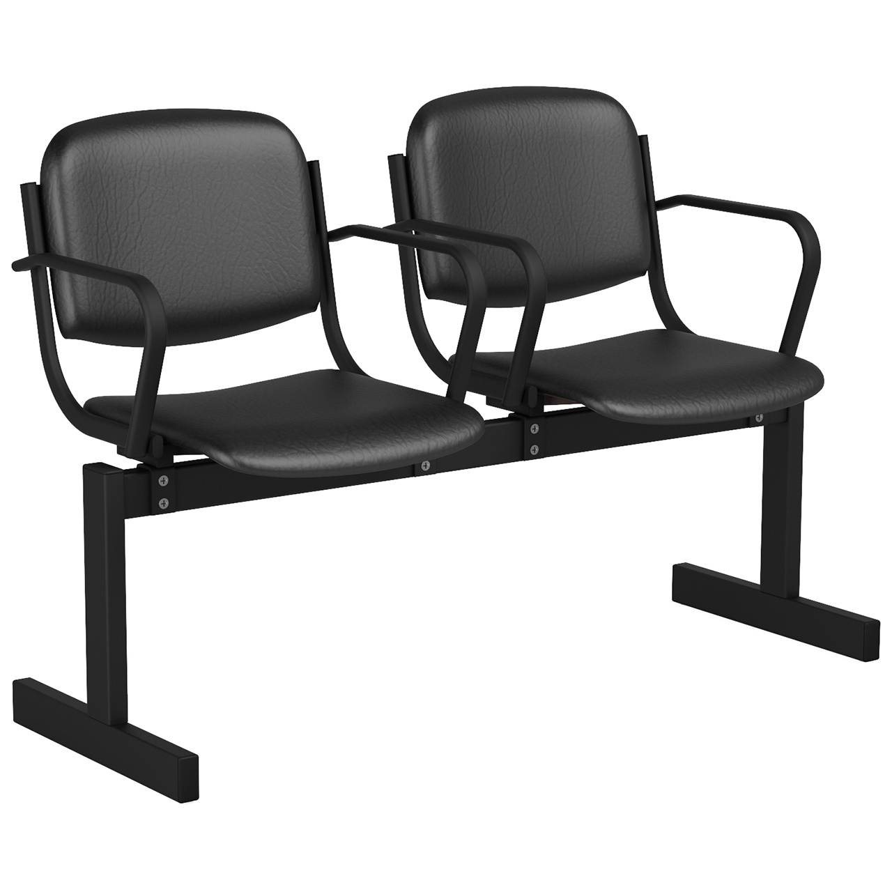 2-местный, не откидывающиеся сиденья, мягкий, подлокотники черный черный Кожзаменитель