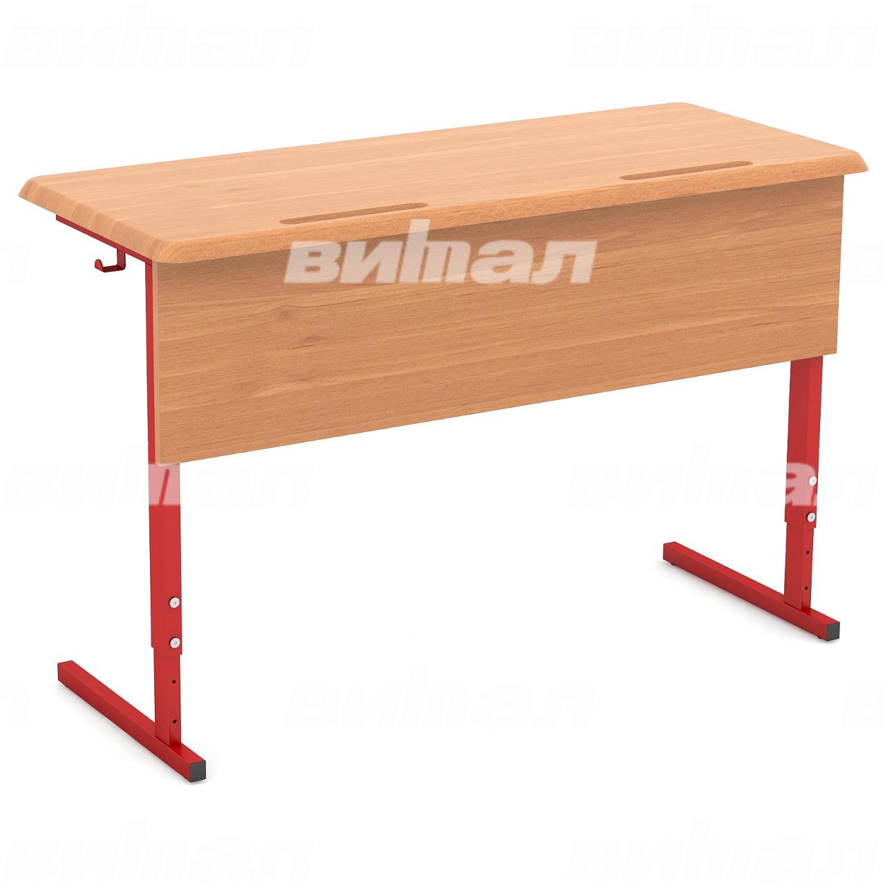Стол ученический 2-местный регулируемый (гр. 2-4, 3-5, 4-6) МДФ красный Бук 4-6 МДФ прямоугольная