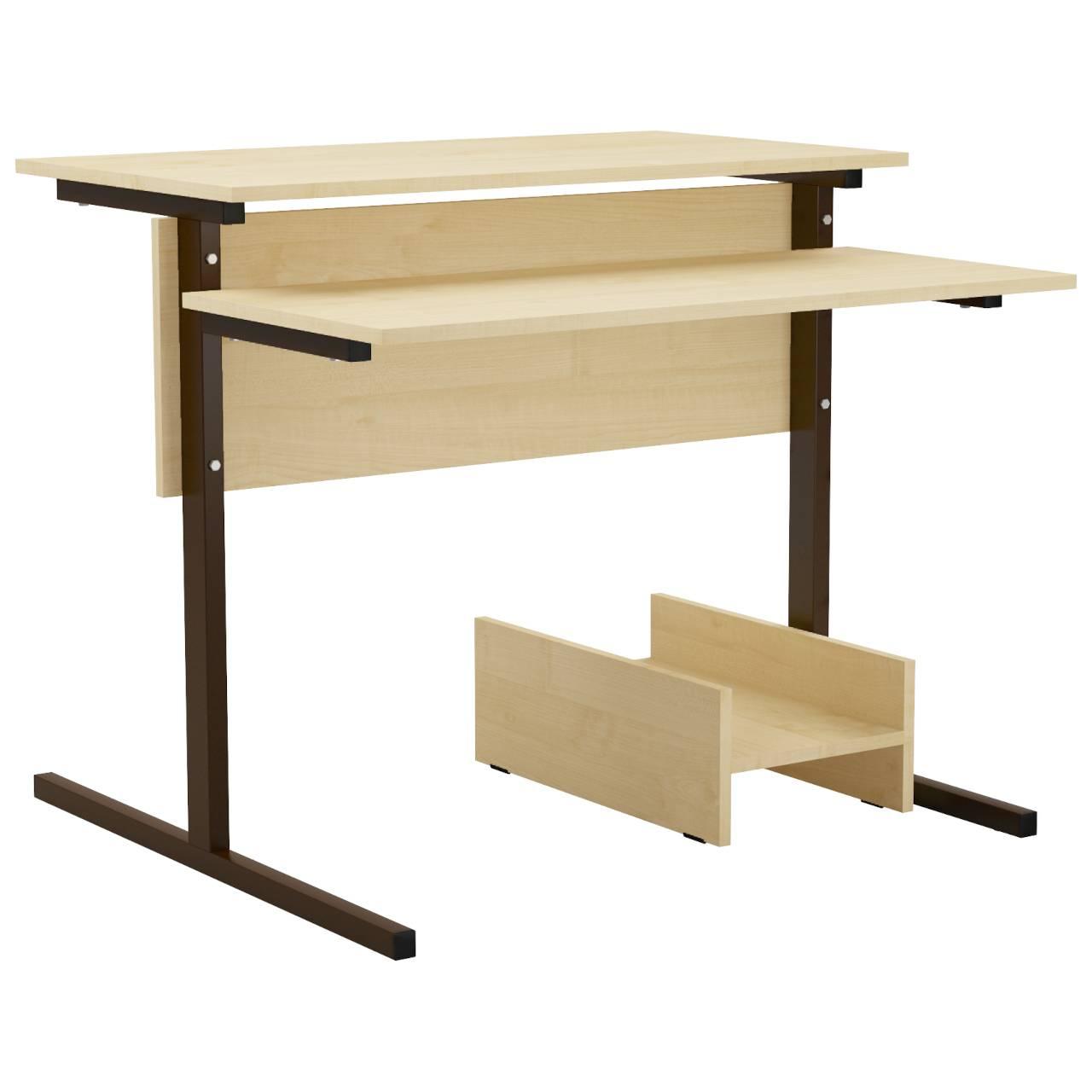 Стол компьютерный на м/к (квадратная труба) коричневый Клен Меламин