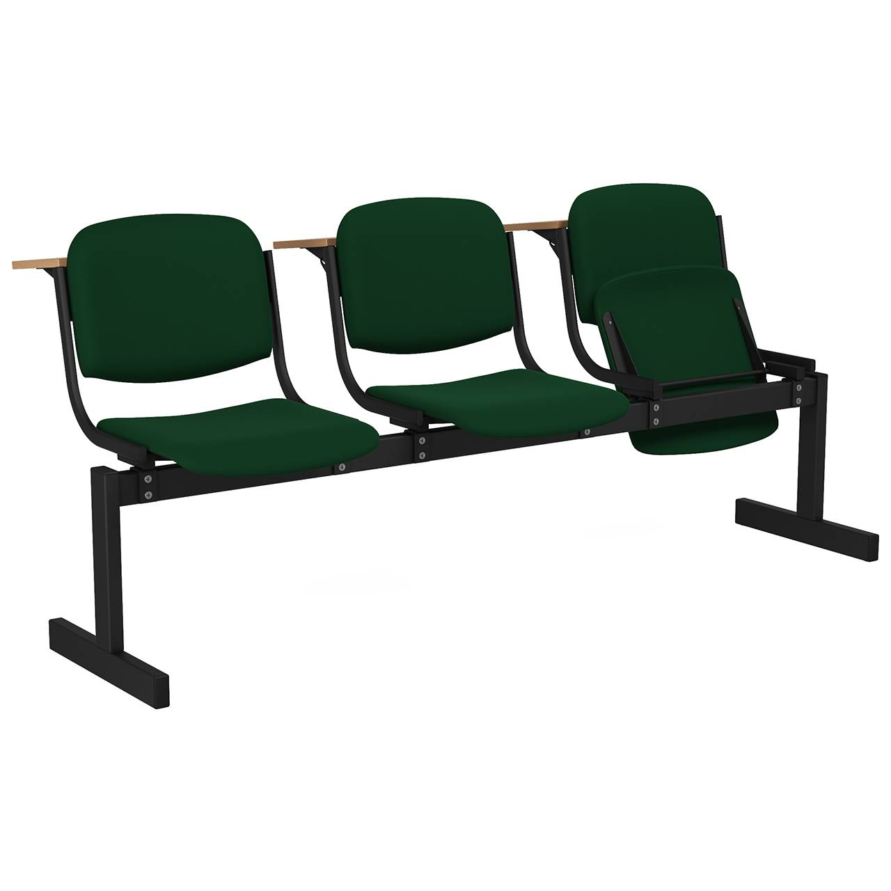 3-местный, откидывающиеся сиденья, мягкий, лекционный черный зеленый Флок
