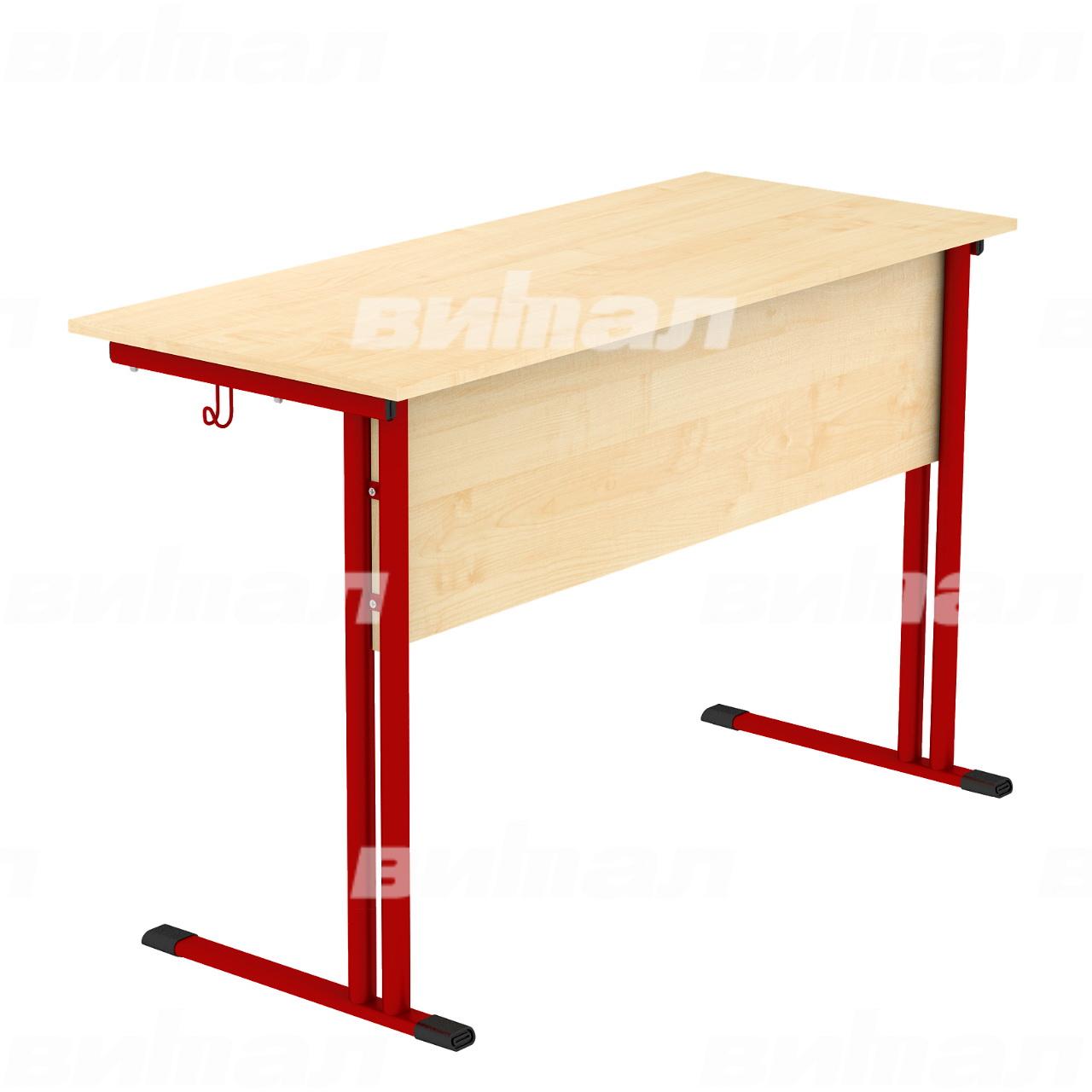 Стол ученический лабораторный (на кр.трубе) красный Клен Пластик