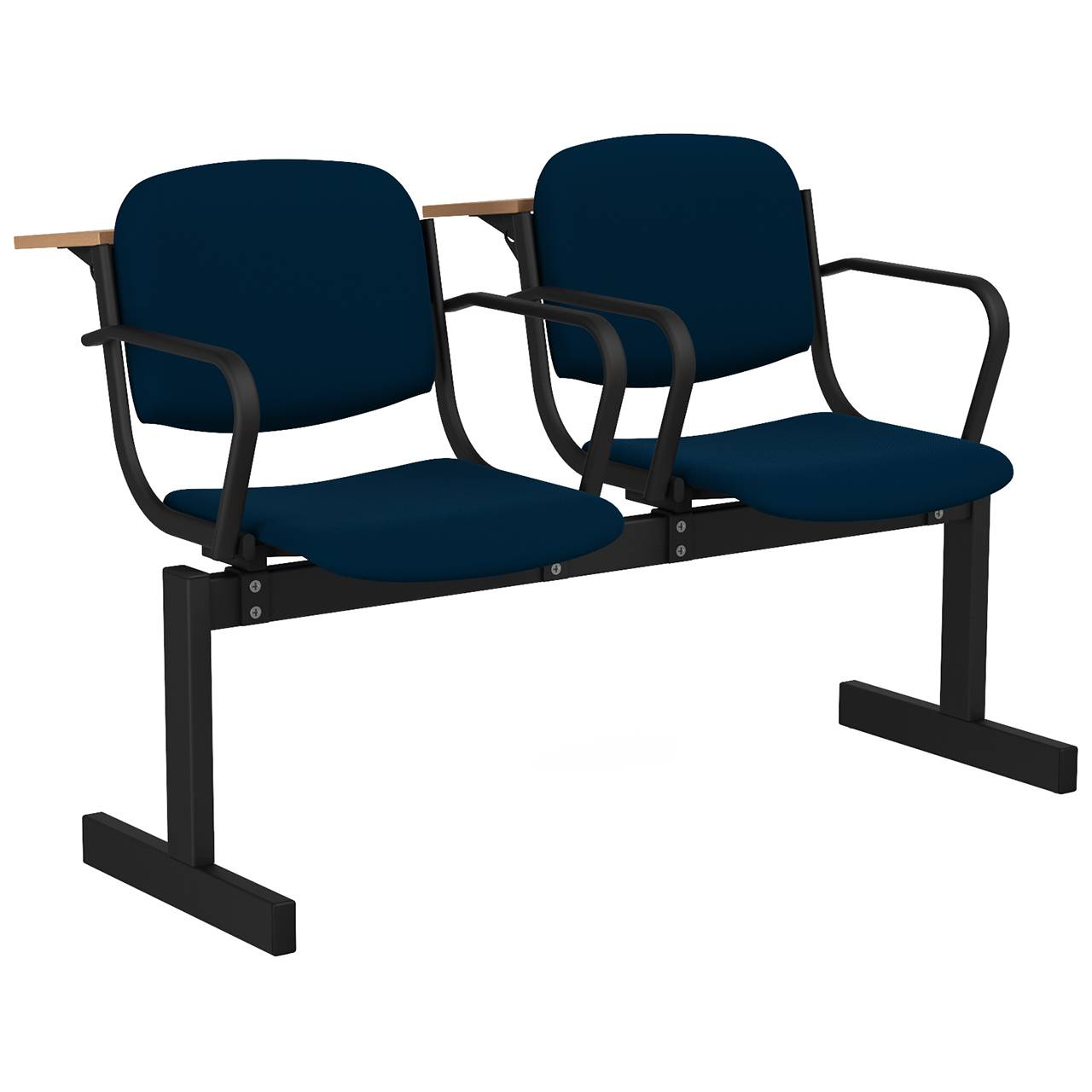 2-местный, не откидывающиеся сиденья, мягкий, подлокотники, лекционный черный синий Флок