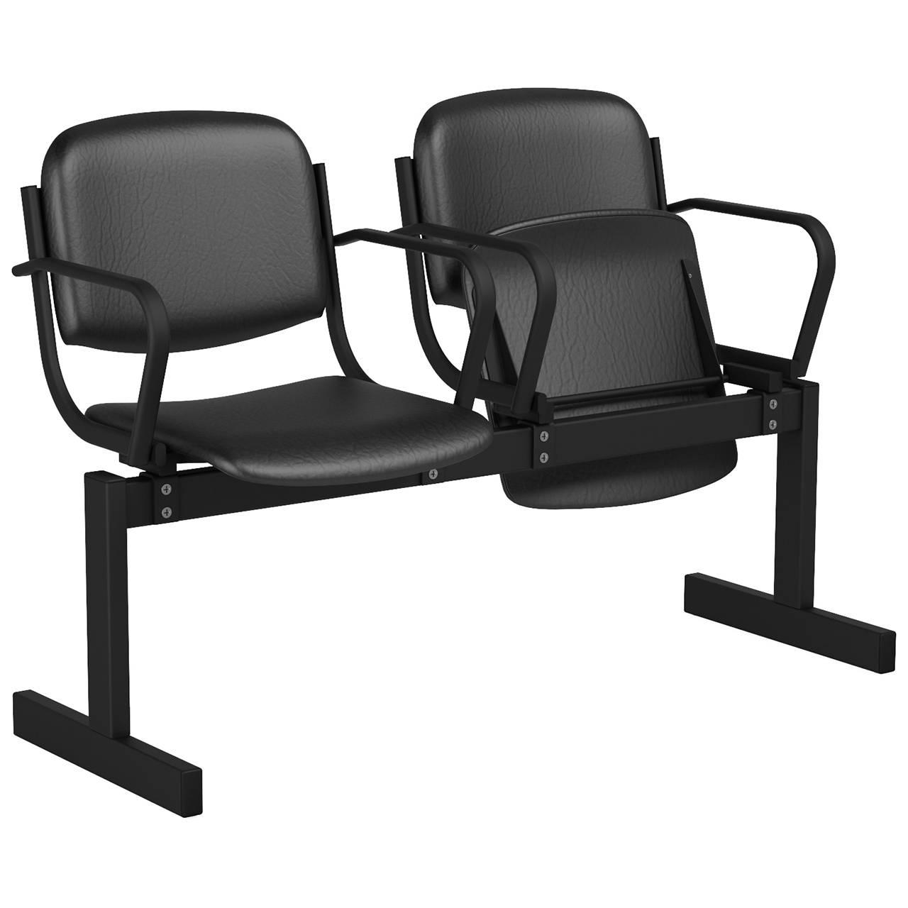 2-местный, откидывающиеся сиденья, мягкий, подлокотники черный черный Кожзаменитель