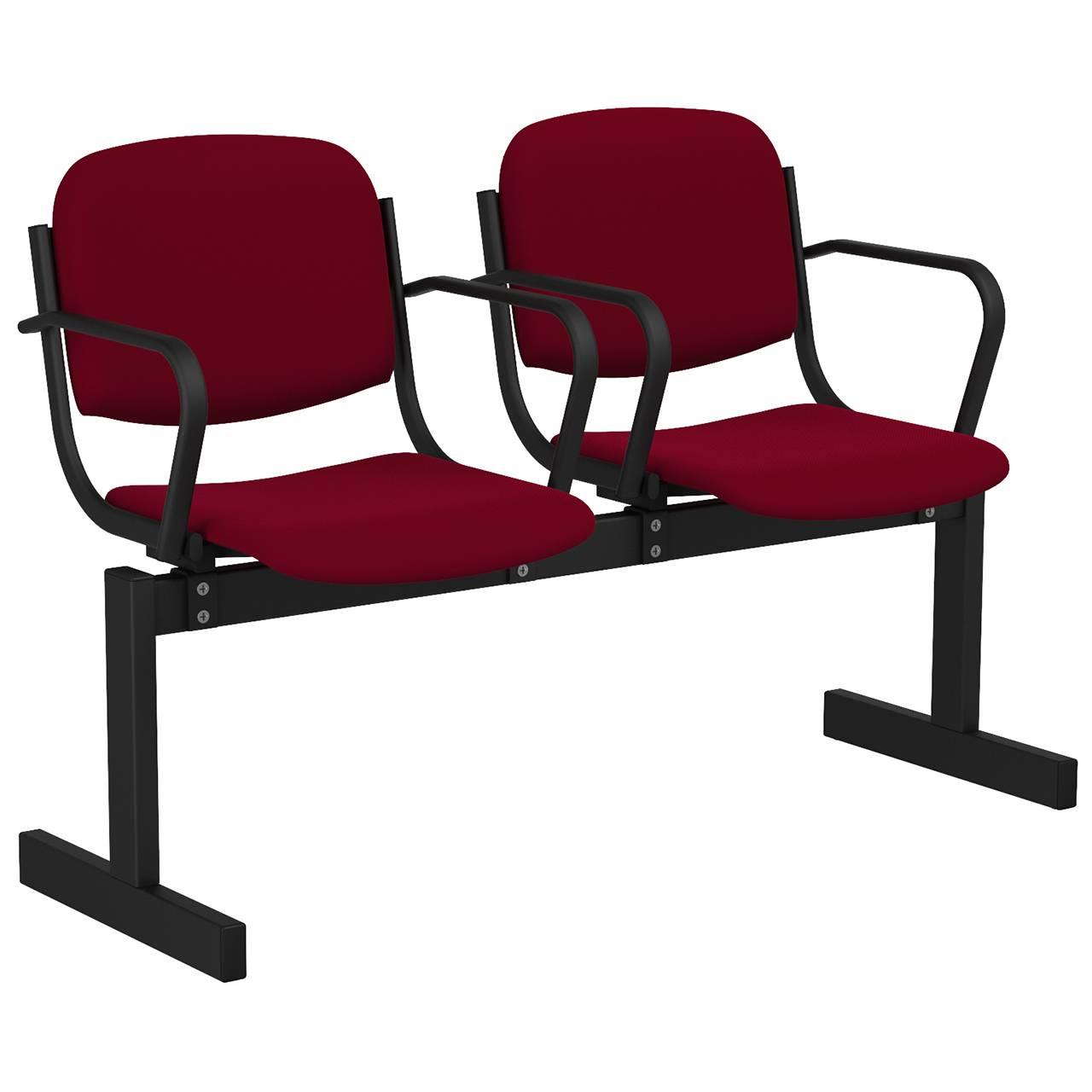 2-местный, не откидывающиеся сиденья, мягкий, подлокотники черный бордо Флок