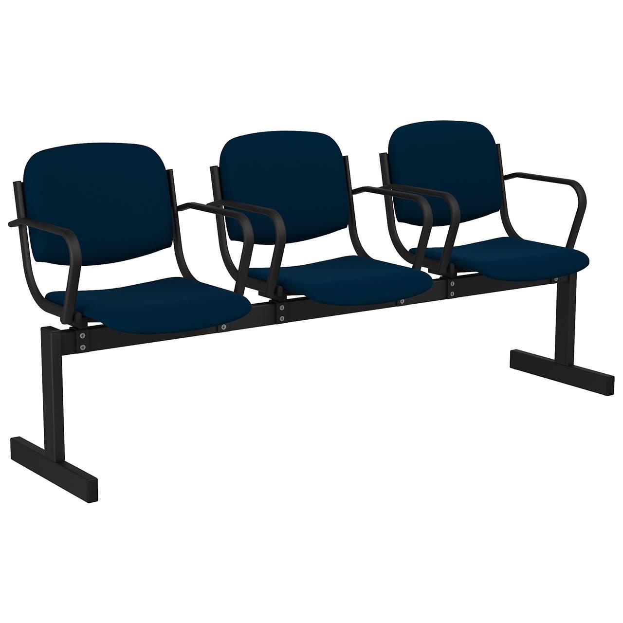 3-местный, не откидывающиеся сиденья, мягкий, подлокотники черный синий Флок